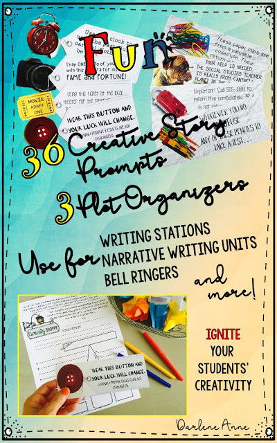 Fictional narrative writing is so much fun with creative story starter task cards! The prompts are totally unique, and the cards are bright and beautiful. You will be thrilled with the stories your students write while using these writing prompts! #middleschoolwriting #creativewriting #creativewritingprompts