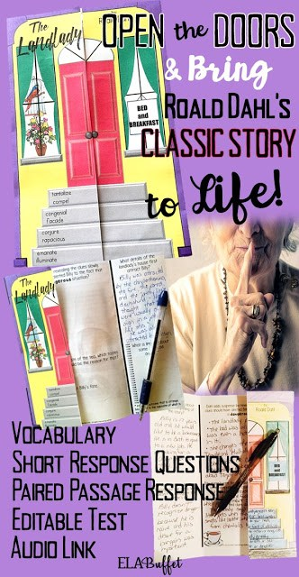"Roald Dahl's ""The Landlady"" is a classic short story that will come alive for your students when you use this folding door worksheet and editable test. Best yet, no glue is needed.   Students will enjoy the story's suspense, and their critical thinking skills will get a good workout while reading and answering the questions for this four-day activity. #thelandlady #scarystories #scarystoriesmiddleschool"