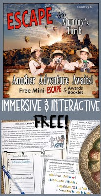 This FREE escape room will immerse your students in the activity. They will have fun while practicing important critical thinking and team building skills. #escaperoom #ancient egypt #middleschool #learningfun #breakout #classroomescape