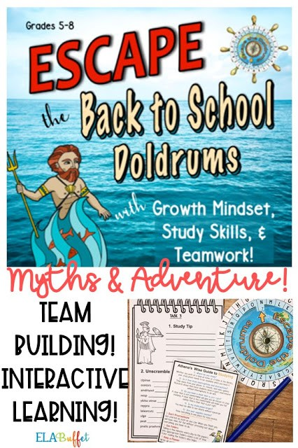 Kids love this back to school escape room! Use it to teach growth mindset, study skills, and classroom expectations. Will they #ESCAPE? #teambuilding #closereading #middleschool #breakout #classroomescaperoom #FunELAActivity #teacher #middleschoollesson #studyskills #growthmindset #teachstudying #classroomexpectations #classroomrules #backtoschool #middleschoolelalesson