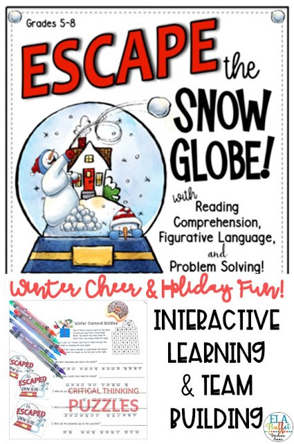 Your students will be trapped inside a snow globe forever, unless they can earn their way out by completing tasks! Can they #ESCAPE? #closereading #figurativelanguagelesson #creativewriting #holidayactivity #funpartyalternative #holidaypary #middleschool #breakout #classroomescaperoom #FunELAActivity #teacher #middleschoollesson #holidayfun #holidayescaperoom#teambuilding #middleschoolelalesson