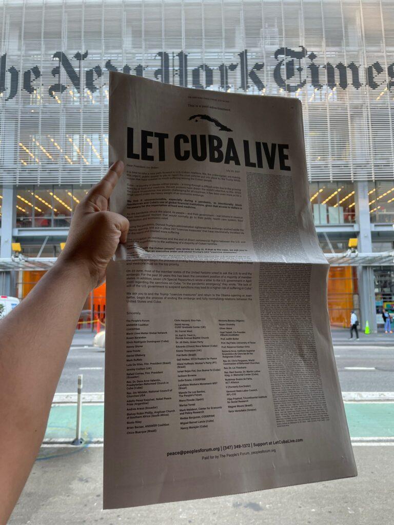 """Let Cuba Live"""": la carta abierta publicada en el New York Times para Joe Biden"""