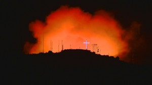 KTVB-TV photo of fire near Boise, Idaho.