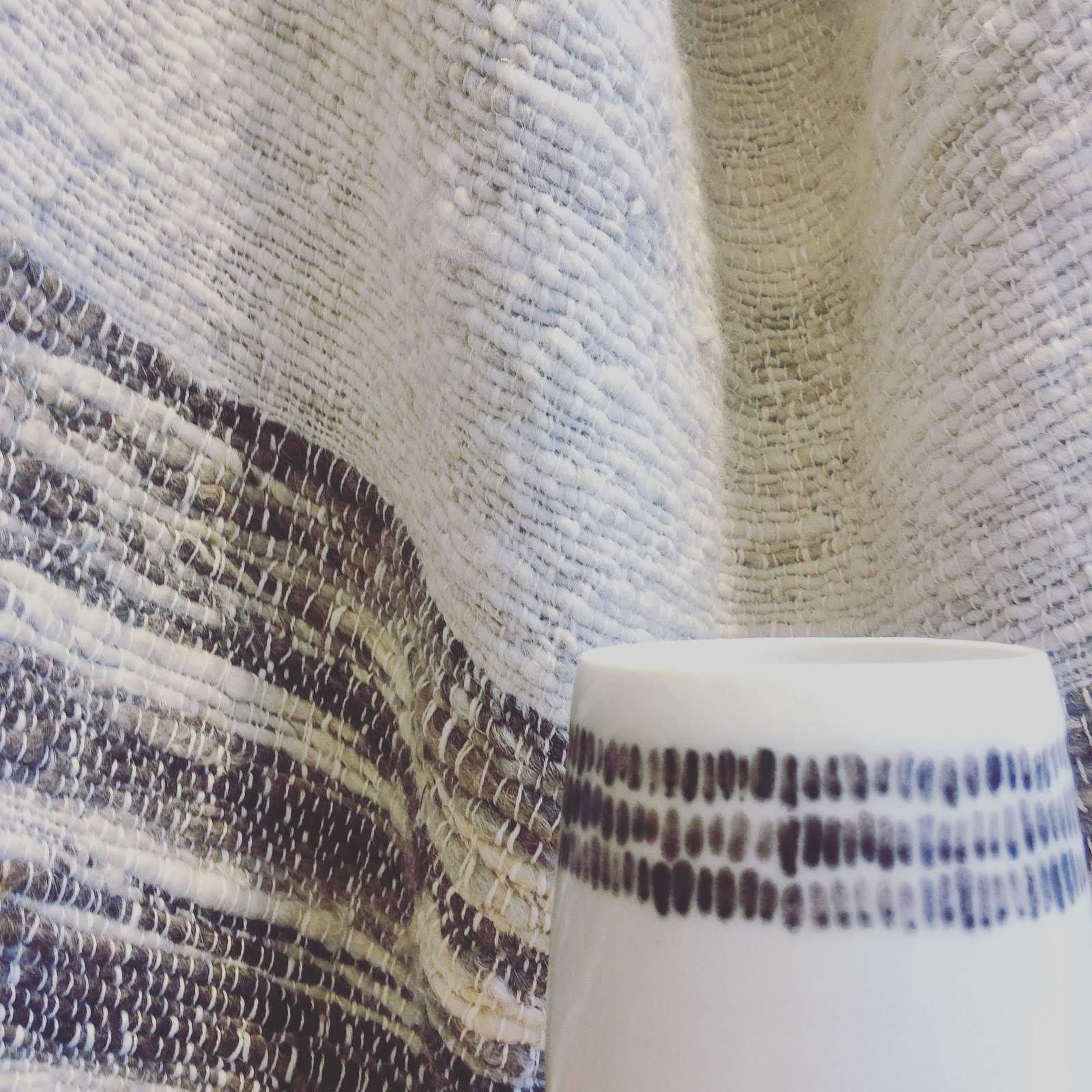 Elaine Bolt Ceramics - Warp and Weft vessels with Imogen Di Sapia blanket