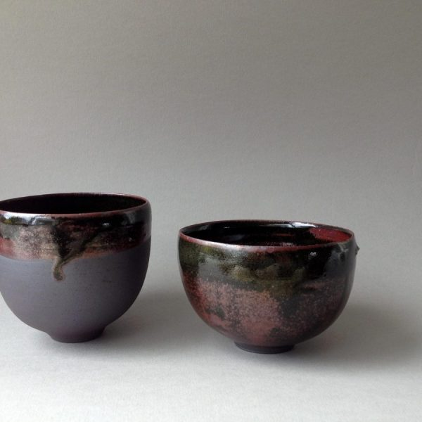 Elaine Bolt black iron glazed teabowls