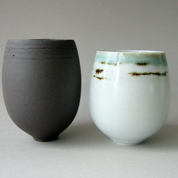 Elaine Bolt celadon and black tea bowls