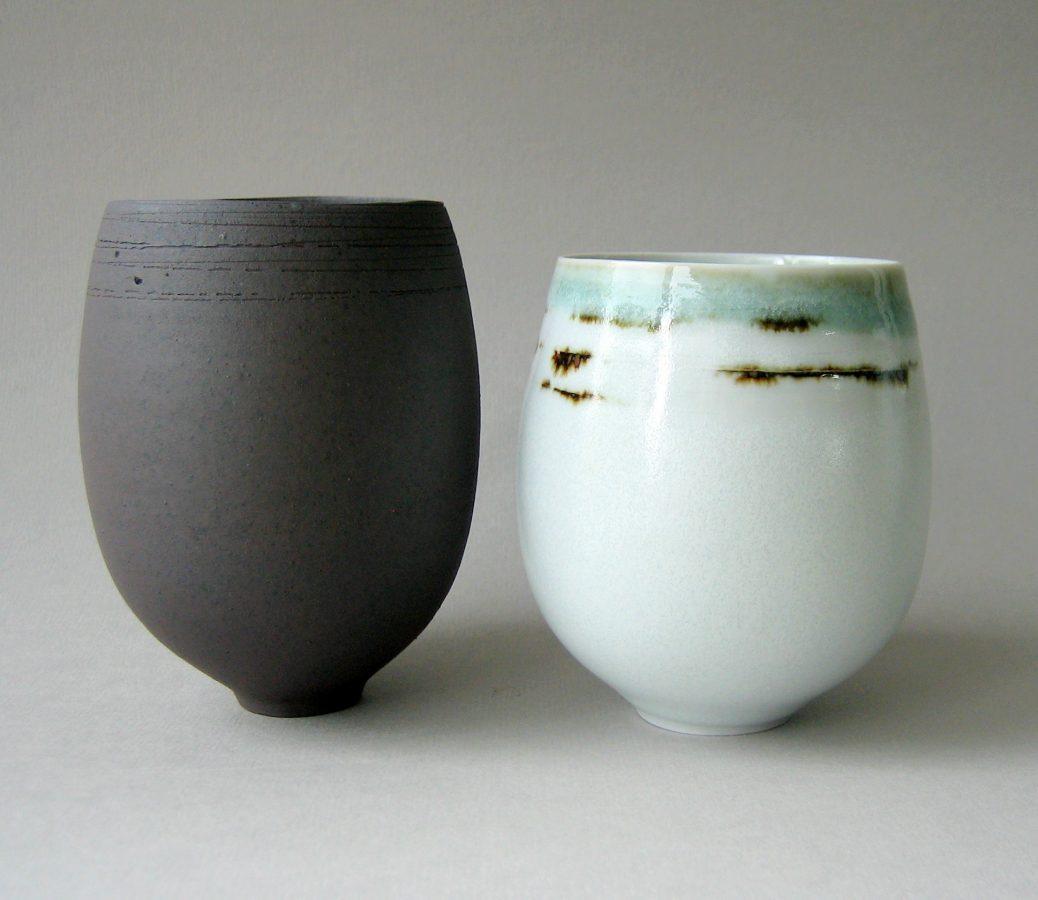 Elaine Bolt celadon and black tea bowls