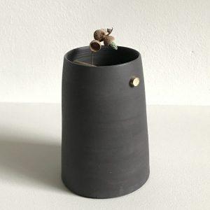 Elaine Bolt Ceramics - Flint Black Woodland Vessel