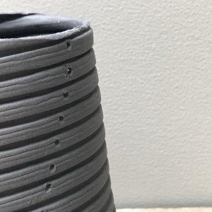 Elaine Bolt ceramics with corrugated texture
