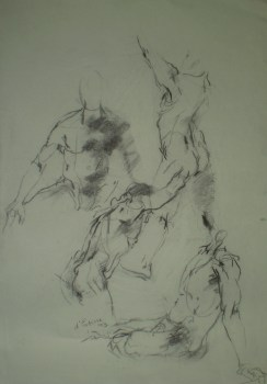 Human figures, quick sketches in charcoal