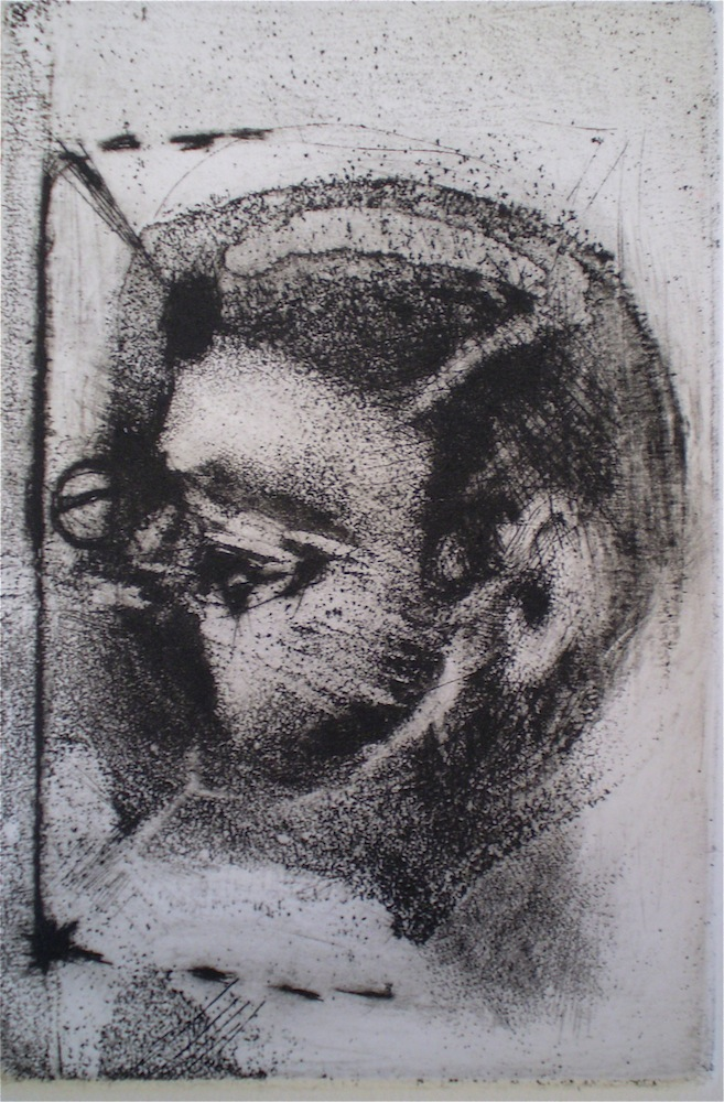 Etching consisting of 2 Plates titled, Daughter/mother, 1/2, 2009, 12x8.5 cm print, 35x28 cm paper, intaglio and drypoint.