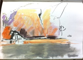 Sketch in pastel of Edith Falls.