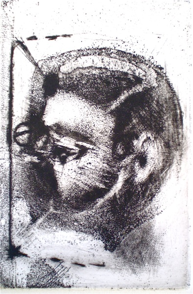 Etching titled Daughter/Mother, a, 1/2, 2009, 12x8.5 cm print, 37x28 cm paper, intaglio and drypoint from Natalie with the Gaze and the Glance.