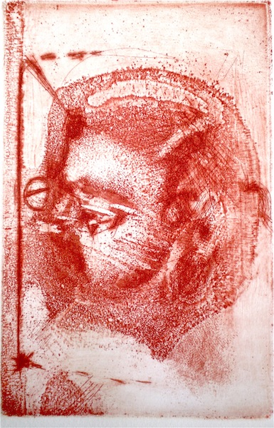 Etching titled Daughter/Mother, b, 1/2, 2009, 12x8.5 cm print, 37x28 cm paper, intaglio and drypoint from Natalie with the Gaze and the Glance.