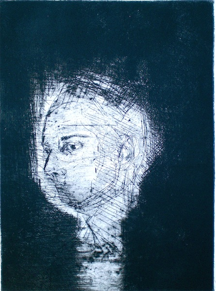 Etching titled Inspiration, 1/1, 2009, 25x18 cm print, 50x35 cm paper, wash, intaglio and drypoint from series titled Natalie with the Gaze and the Glance