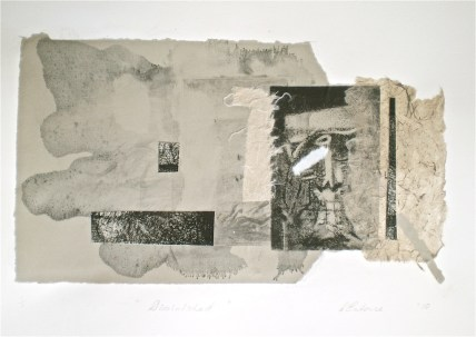 Diminished, 1/1, 2010, intaglio and collage 20x33 cm print, 35x50 cm paper