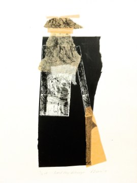 The Last Ray at Mungo, 2015, drypoint, collagraph and collage