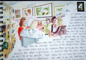 Traveling Conversations  Show - Art Journal Page - Traveling Conversations Reception