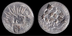 Mexican silver dollar, stamped by Chinese merchants after verifying weight and silver content.