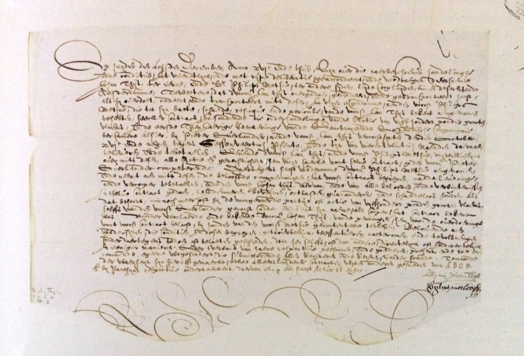 Handwritten contract for future delivery of two shares of Dutch East India Company [3]. An edict issued the States of Holland in 1623 to regulate forward trading in shares of the Dutch East and West India Companies mentioned not only the borrowing of money against company shares but also specified the procedure for foreclosure of shares in case borrowers defaulted.
