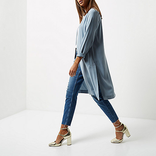 ligh blue duster coat