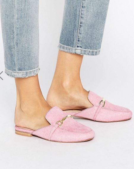 pink backless suede Loafer asos