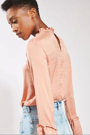 Tall fill satin high neck blouse topshop