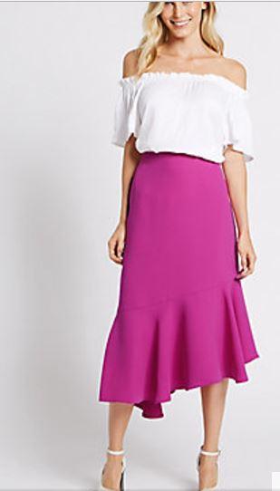 pink assemetric hem skirt