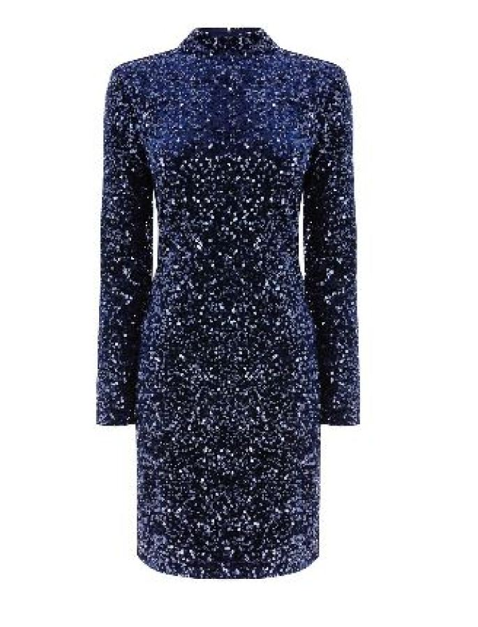 velvet sequin high neck dress warehouse