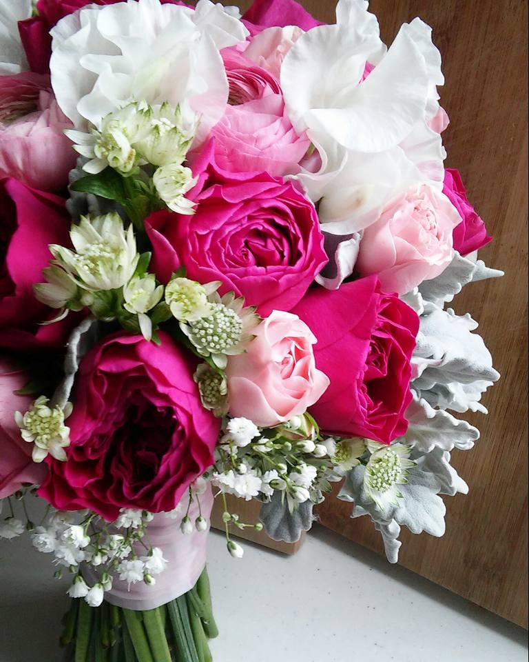 桃紅色 garden rose新娘花球 – Elaine Wedding