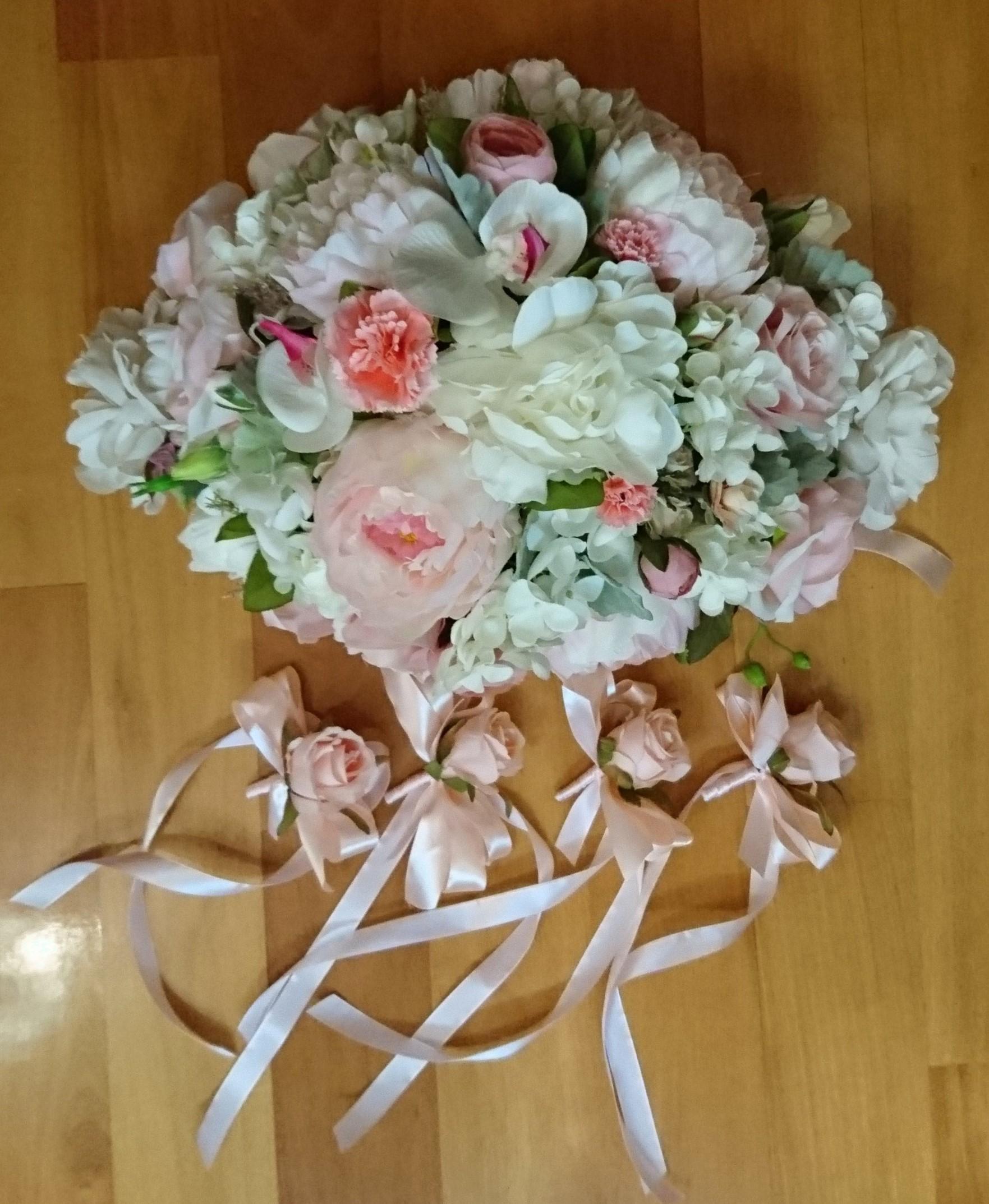 淡粉紅色 結婚車花佈置 – Elaine Wedding