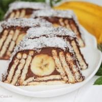 Prăjitură cu biscuiți și banane -fără coacere