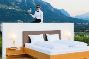 A hotel without walls in Switzerland teaches its butlers how to make beds in strong winds and cross creeks while carrying trays of food