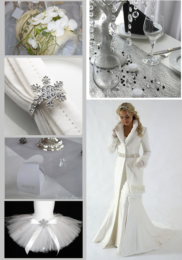 Winter elements in wedding decoration white silver and diamonds  Wedding Destination Colombia
