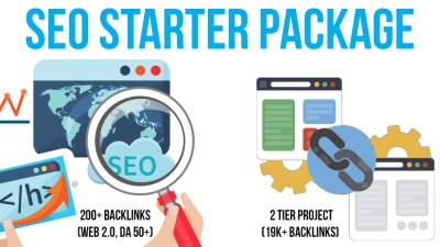 SEO Starter Package: 1 Premium & SEnuke Campaigns, 200+ Backlinks (Web 2.0, DA 50+), 2 Tier Project
