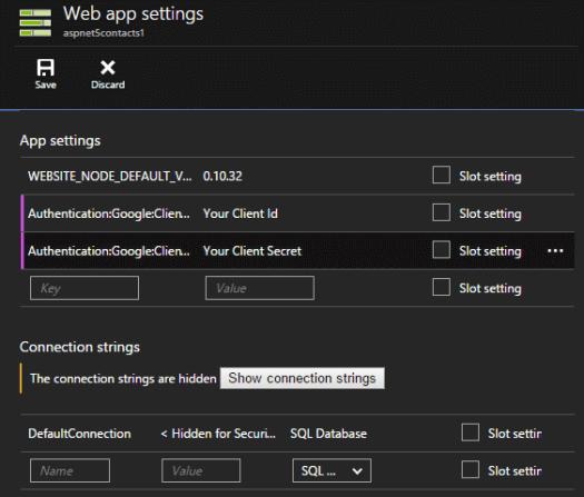 AzurePortalWebAppSettingsAuthAndConnection