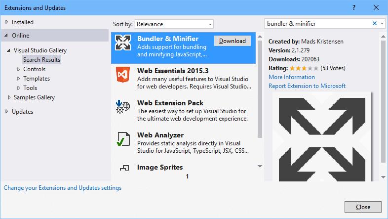 Change from Bundle & Minifier to Gulp in Visual Studio