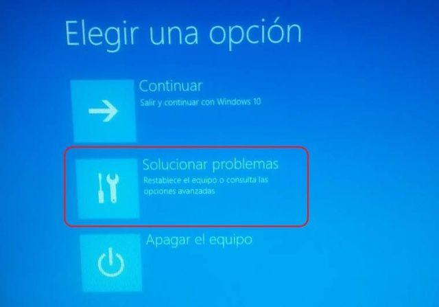 """Elige """"Solucionar problemas"""""""