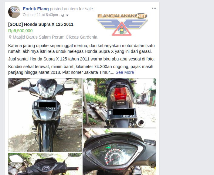 Jual Motor lewat Facebook