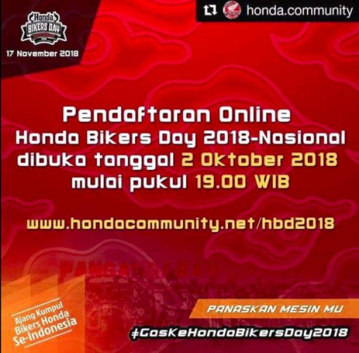 Pendaftaran Online Honda Bikers Day 2018