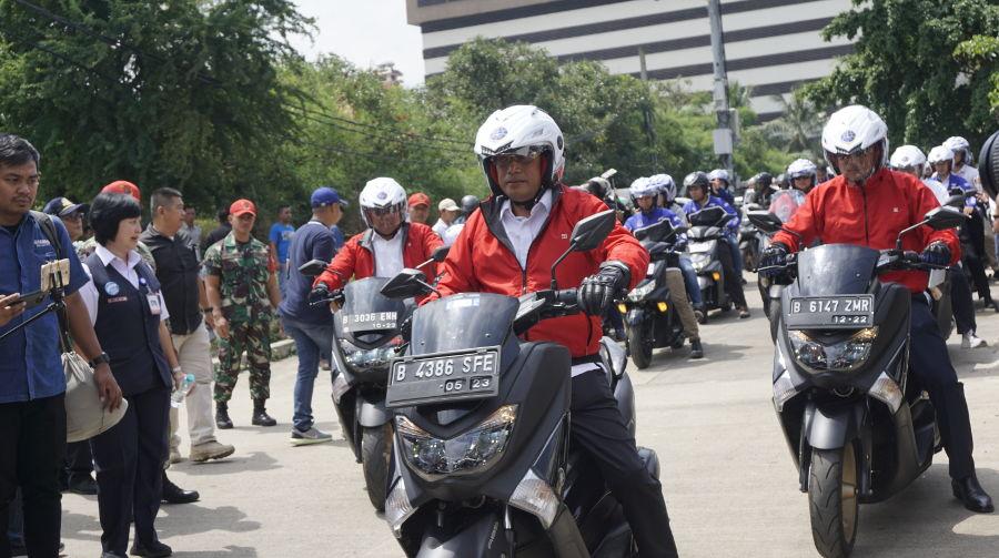 Kemenhub Riding dengan Skutik MAXI Yamaha