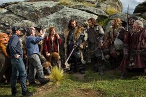 Peter Jackson y los actores en el rodaje
