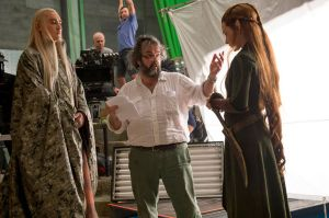 Lee Pace, Peter Jackson y Evangeline Lilly