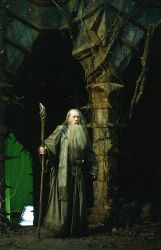 Ian McKellen en el decorado de Dol Guldur