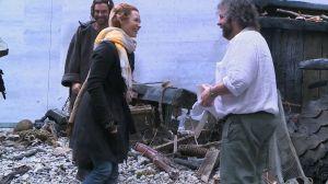 Aidan Turner, Evangeline Lilly y Peter Jackson