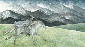 Gandalf cabalga montado en Sombragrís, según Anke Katrin Eißmann