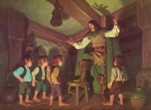 Aragorn y los Hobbits, según los hermanos Greg y Tim Hildebrandt