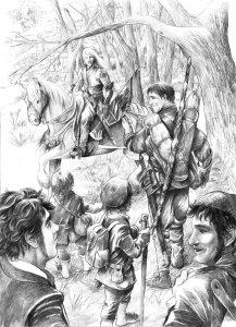 Glorfindel encuentra a Aragorn y los Hobbits, según Abe Papakhian