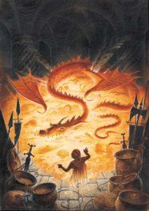 Bilbo y Smaug, según David Wyatt