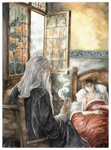 Gandalf y Frodo en Rivendel, según Anke Katrin Eißmann